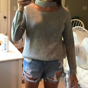 Grey Sweater Fate by LFD With Collar Cut Out